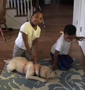 Two kids playing with their dog