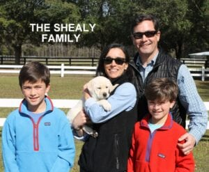 The Shealy family and their pup