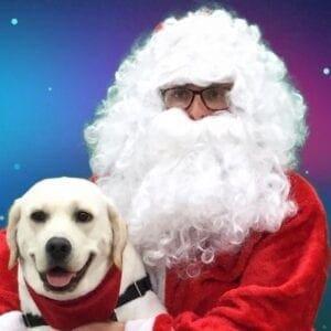 A dog and Santa