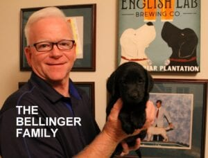 The Bellinger family and their pup