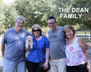 The Dean family and their puppy