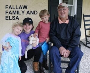 The Fallaw family and Elsa