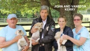 John and Vanessa Kerry and their dogs