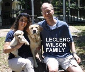 The Leclerc Wilson family and their dogs