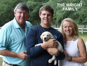 The Wright family and their puppy